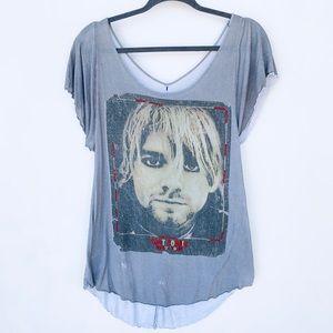 RARE Kurt Cobain Double Layer Tee with Beading